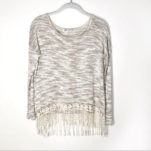 Jolt sweater long sleeve with fringe tan and cream